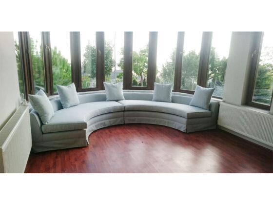 yuvarlak yerine göre köşeli koltuk , corner sofa