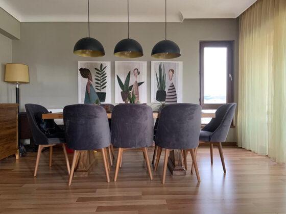 modern masif yemek odası